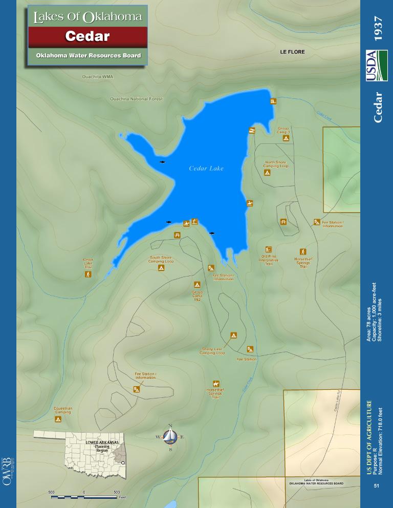 Cedar Lake Map   Oklahoma