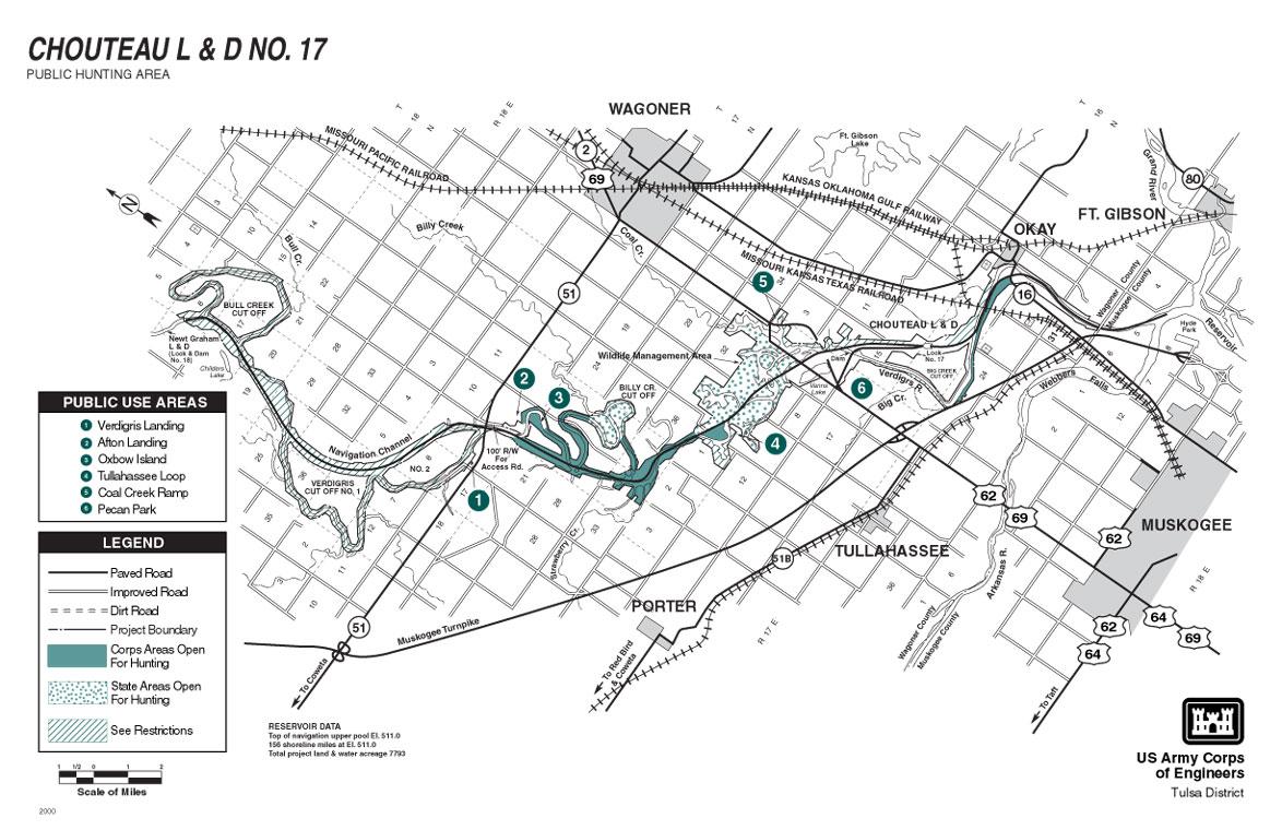 Chouteau Lock and Dam Map