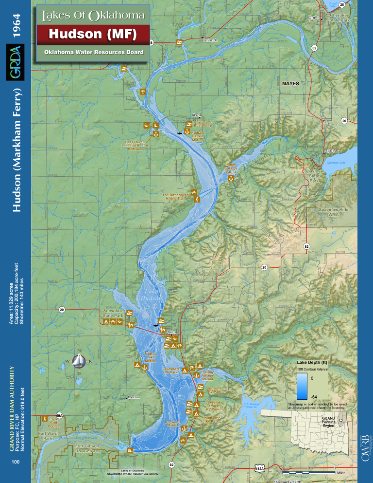 Lake Hudson Map Markham Ferry Oklahoma - Oklahoma map of lakes